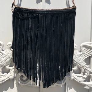 H&M SUEDE FRINGE GOLD CHAIN CROSSBODY BAG